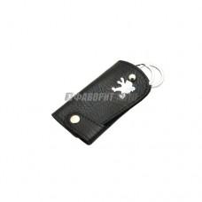 Брелок - ключница кожаный PEUGEOT с карабином