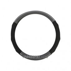 Оплетка руля M Luxury AP-1060 BK/GY нат.кожа  вставки из PU кожи. черно-серая @