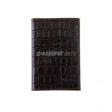 Обложка для документов (нат. кожа) коричневая DRIVER AO4CP