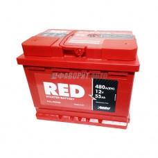 АКБ RED 6СТ-55 А/ч (пп), 480п.т. Польша  242х175х190 зал.