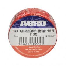Изолента красная ABRO (19 мм х 9,1 м) EТ-912-RD