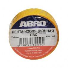 Изолента жёлтая ABRO (19 мм х 9,1 м) EТ-912-YE