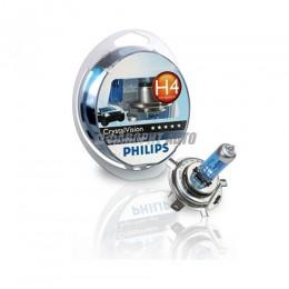 Лампа H4 12V- 60/55W (P43t) +W5W 12V-5W (W2,1x9,5d) Crystal Vision (по 2 Philips [12342cvsm]