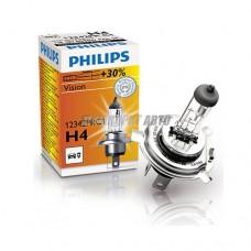 Лампа H4 12V- 60/55W (P43t) ( +30% света) Vision (Premium) Philips [12342prc1]