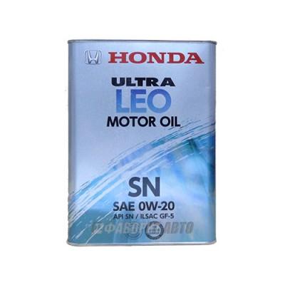 Моторное масло HONDA Ultra MOTOR OIL LEO 0W-20, 4л, синтетическое